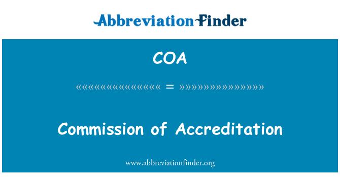COA: Commission of Accreditation
