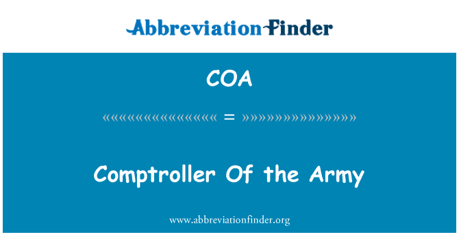 COA: Comptroller Of the Army