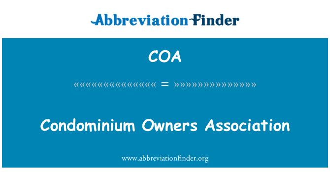 COA: Condominium Owners Association