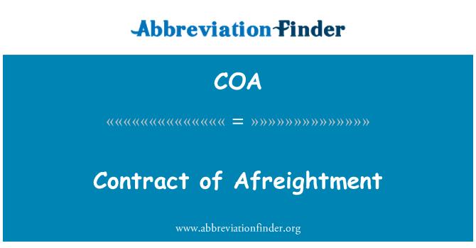 COA: Contract of Afreightment