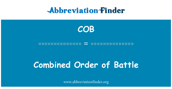 COB: Combined Order of Battle