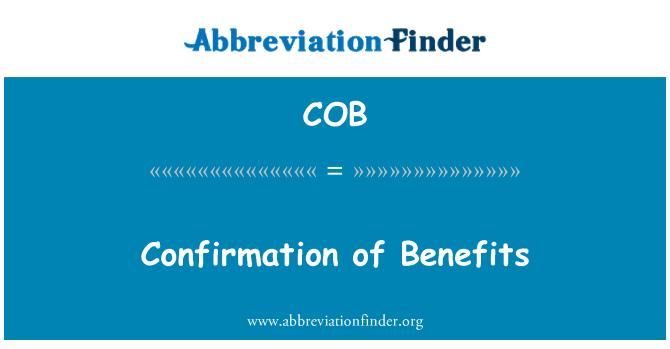 COB: Confirmation of Benefits