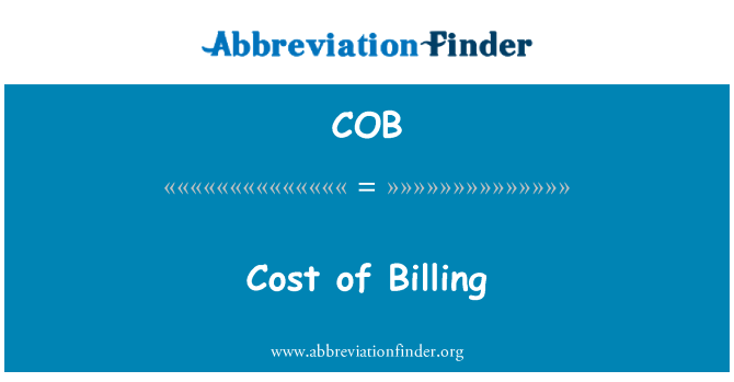 COB: Cost of Billing