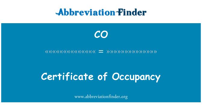 CO: Certificate of Occupancy