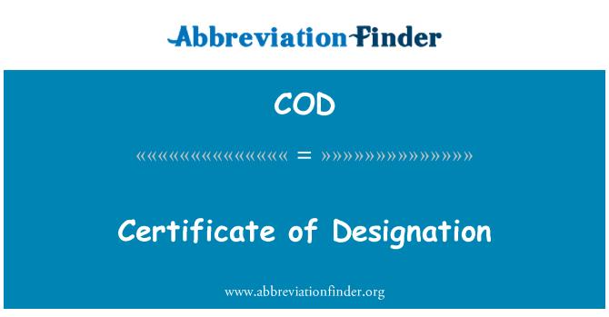 COD: Certificate of Designation