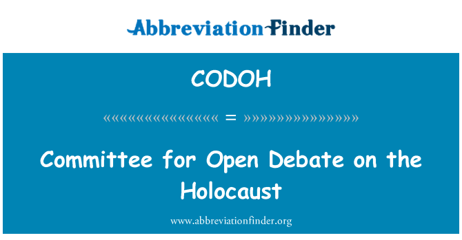 CODOH: Committee for Open Debate on the Holocaust