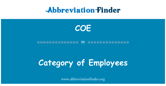 COE: Category of Employees