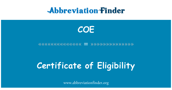 COE: Certificate of Eligibility