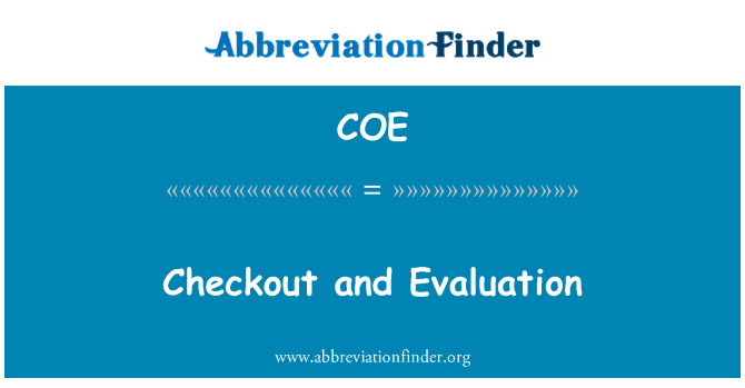 COE: Checkout and Evaluation