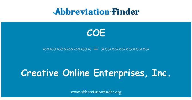 COE: Creative Online Enterprises, Inc.