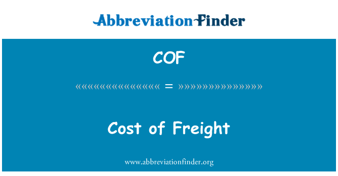 COF: Cost of Freight