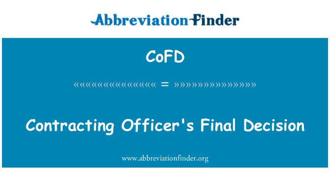 CoFD: Contracting Officer's Final Decision