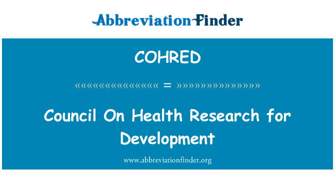 COHRED: Council On Health Research for Development