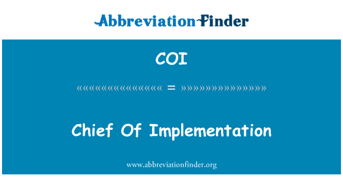 COI: Chief Of Implementation