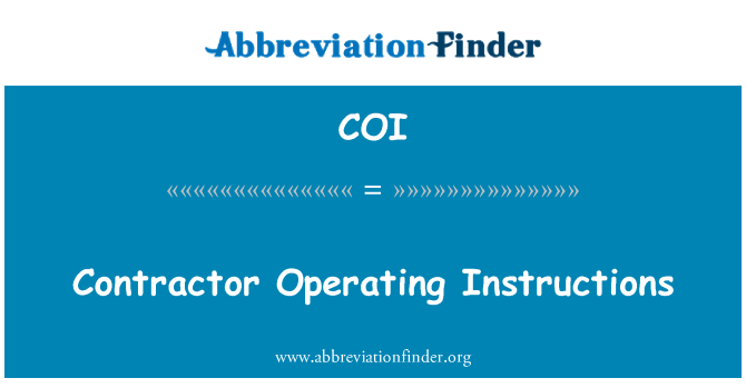 COI: Contractor Operating Instructions