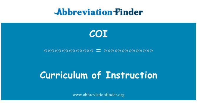 COI: Curriculum of Instruction