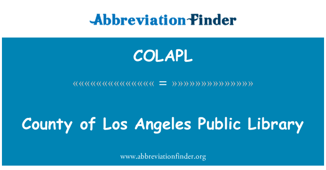 COLAPL: County of Los Angeles Public Library