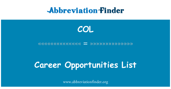 COL: Career Opportunities List