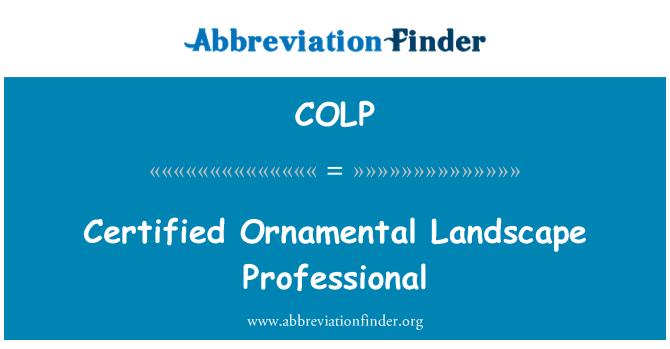 COLP: Certified Ornamental Landscape Professional