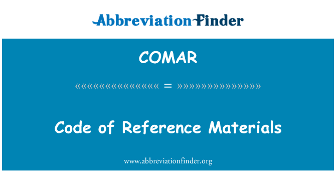 COMAR: Code of Reference Materials