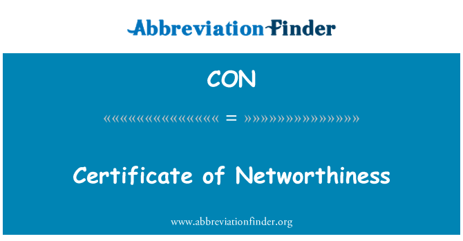 CON: Certificate of Networthiness