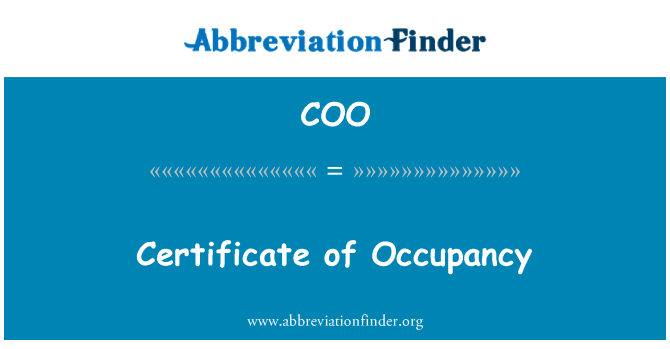 COO: Certificate of Occupancy