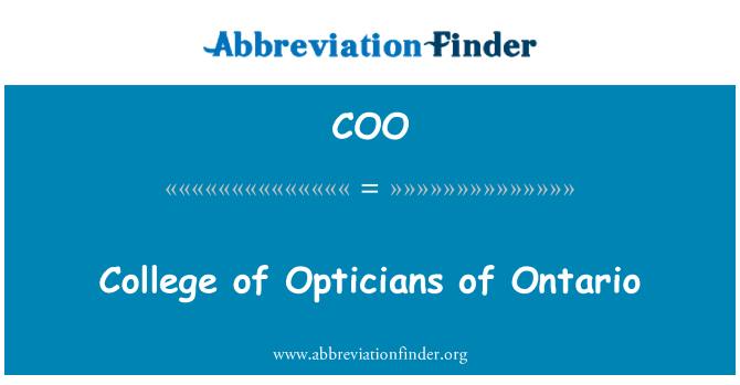 COO: College of Opticians of Ontario