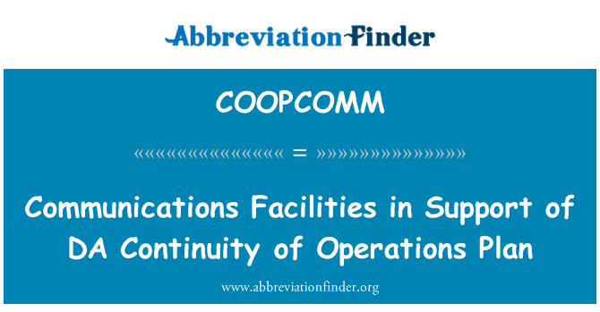 COOPCOMM: Communications Facilities in Support of DA Continuity of Operations Plan