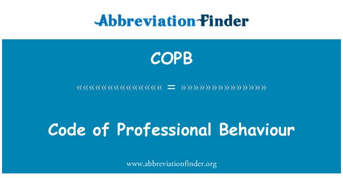 COPB: Profesyonel davranış kodu