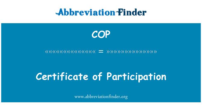 COP: Certificate of Participation