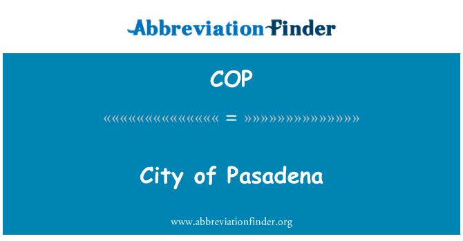 COP: City of Pasadena