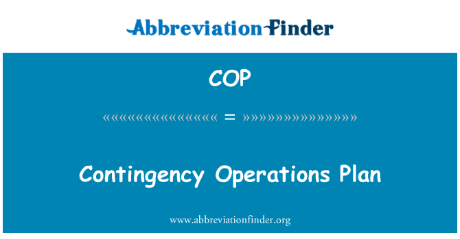 COP: Contingency Operations Plan