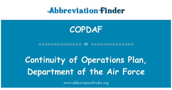 COPDAF: Continuity of Operations Plan, Department of the Air Force