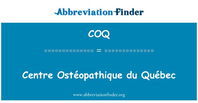 COQ: Centre Ostéopathique du Québec