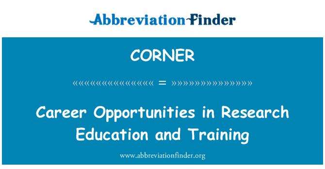 CORNER: 职业生涯教育的研究和培训机会