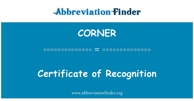 CORNER: شهادة تقدير