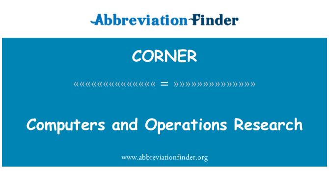 CORNER: Komputer dan penyelidikan operasi