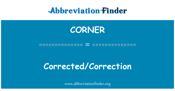 CORNER: Gecorrigeerd/correctie