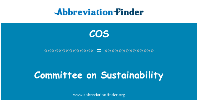 COS: Committee on Sustainability