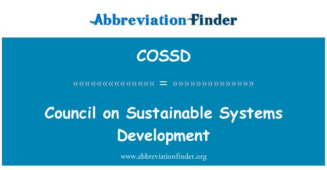 COSSD: Consejo de desarrollo de sistemas sostenibles