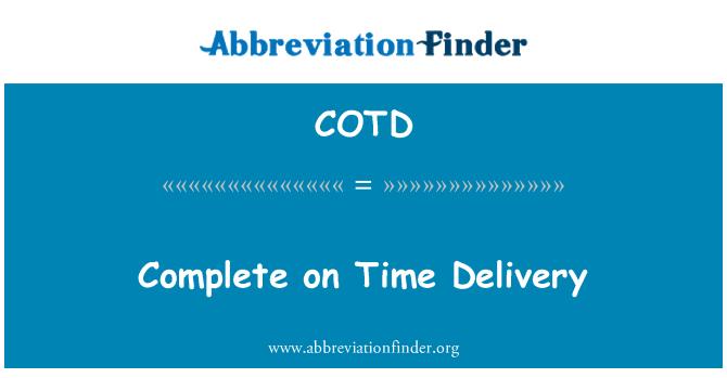 COTD: Melengkapkan penghantaran tepat pada masa