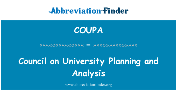 COUPA: Council on University Planning and Analysis
