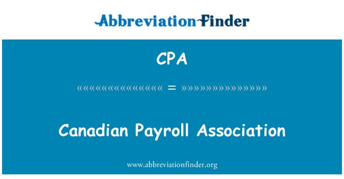 CPA: Canadian Payroll Association