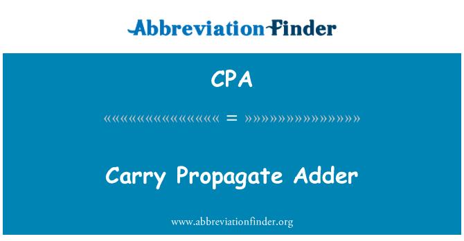 CPA: Carry Propagate Adder