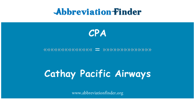 CPA: Cathay Pacific Airways