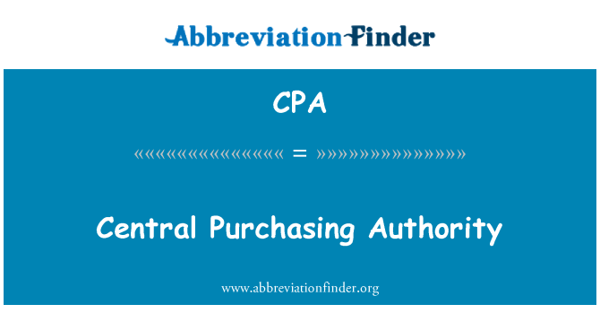 CPA: Central Purchasing Authority