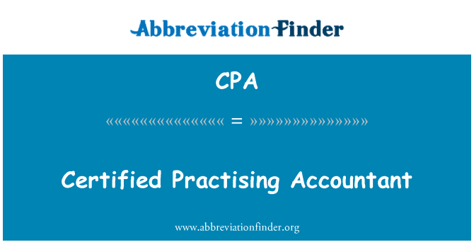CPA: Certified Practising Accountant