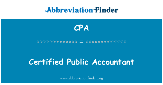 CPA: Certified Public Accountant
