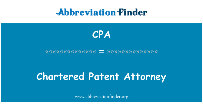 CPA: Chartered Patent Attorney