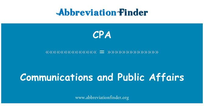 CPA: Communications and Public Affairs